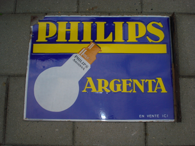 emaille bord philips argenta,porcelain sign,emaill schild,reclamebord