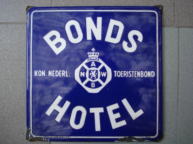 ,porcelain sign,emaill schild,reclamebord emaille bord bonds hotel