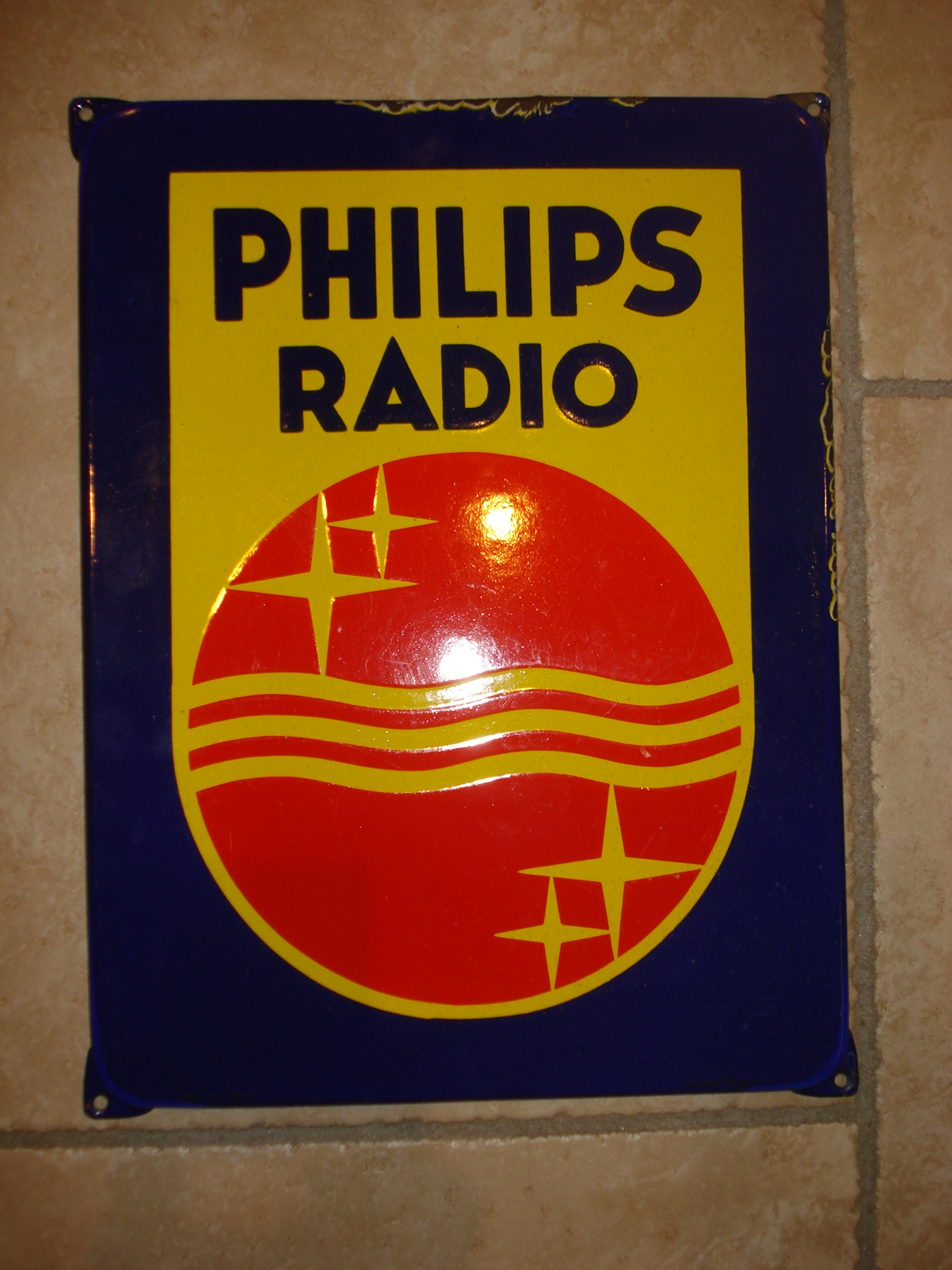 emaille bord philips radio,porcelain sign, email schild, plaque emaillee