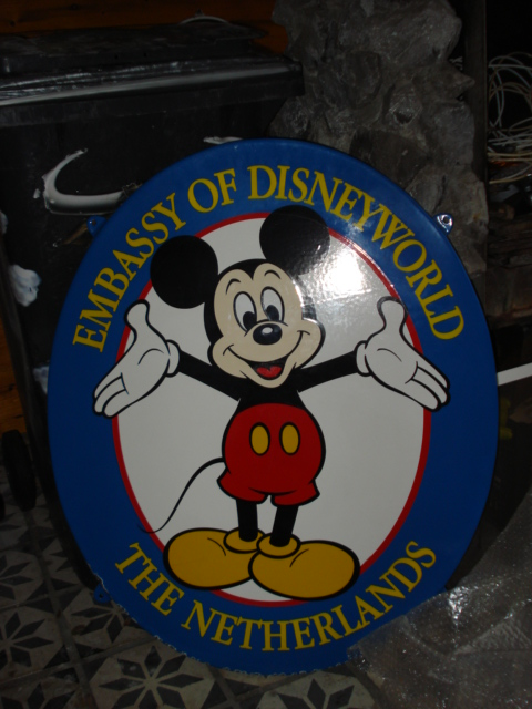 emaille bord mickey mousse,porcelain sign, email schild, plaque emaillee