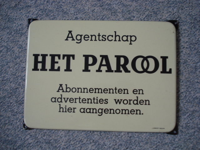 ,porcelain sign,emaill schild,reclamebord emaille bord krant parool