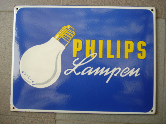 emaille bord philips lampen,porcelain sign, email schild, plaque emaillee
