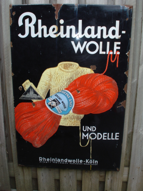 emaille bord rheinland wolle,porcelain sign, email schild, plaque emaillee