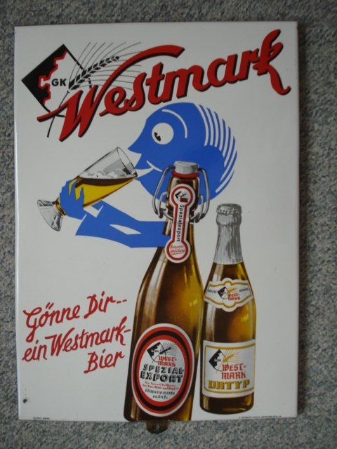 emaille bierbord westmark, emaill schild,porcelain sign